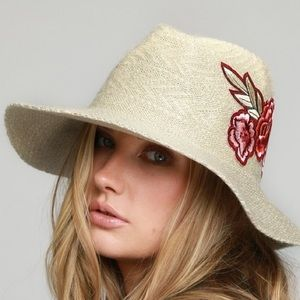 FLORAL FLOPPY PANAMA HAT-IVORY